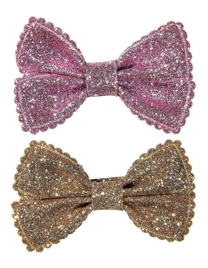 Small Glitter Bows 2pk Pink Amethyst & Gold image 1