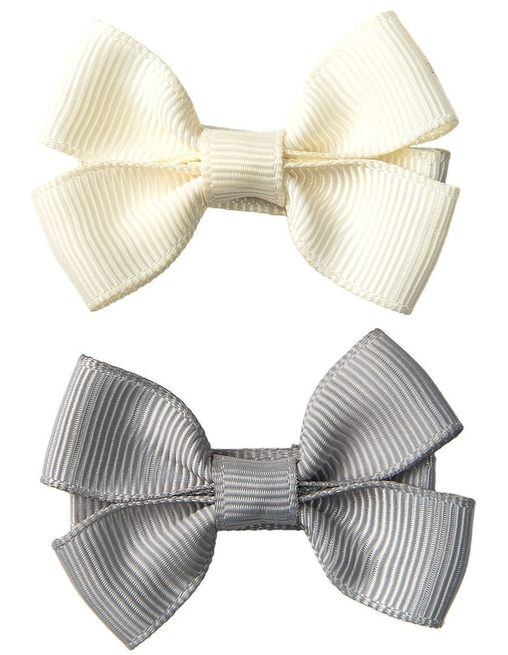 Small Grosgran Bows 2pk Grey & Ivory image 1