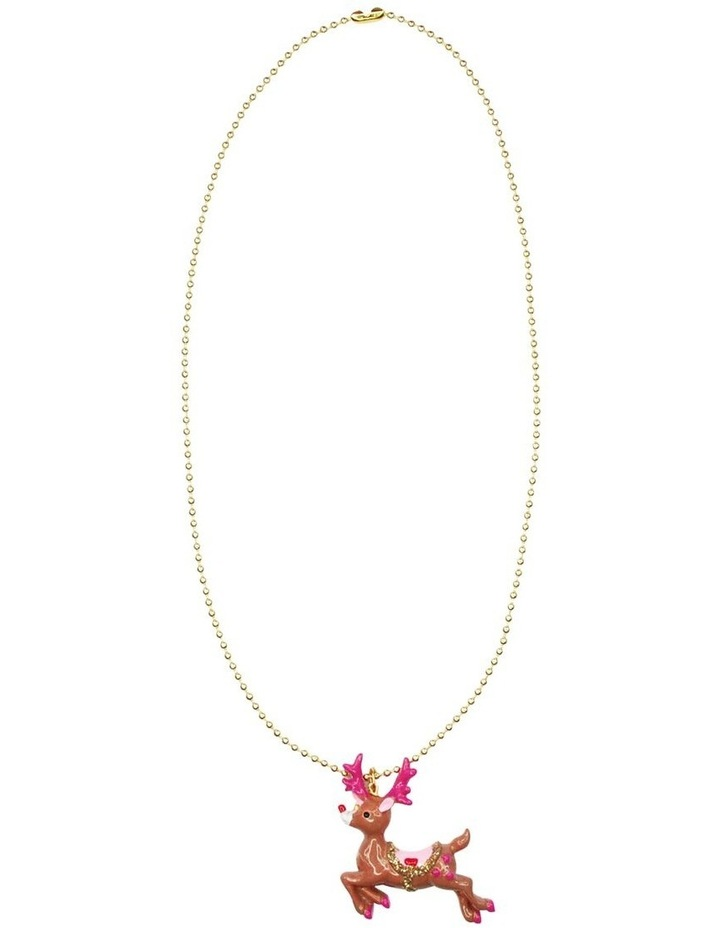 Reindeer Ball Chain Gold Necklace image 1