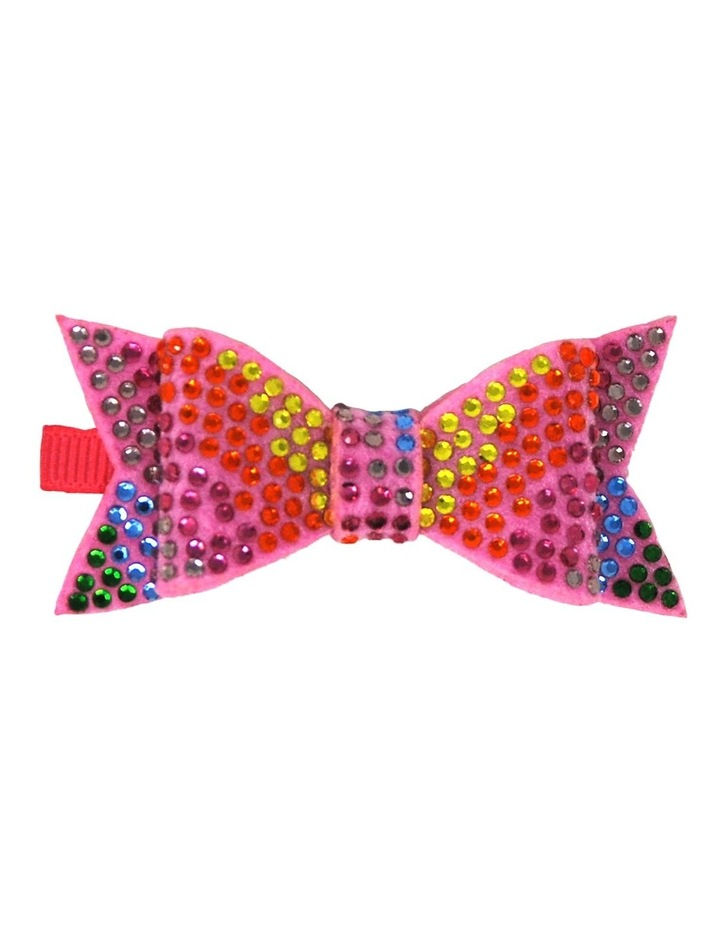 Rainbow Rhinestone Bow Hairclip image 1