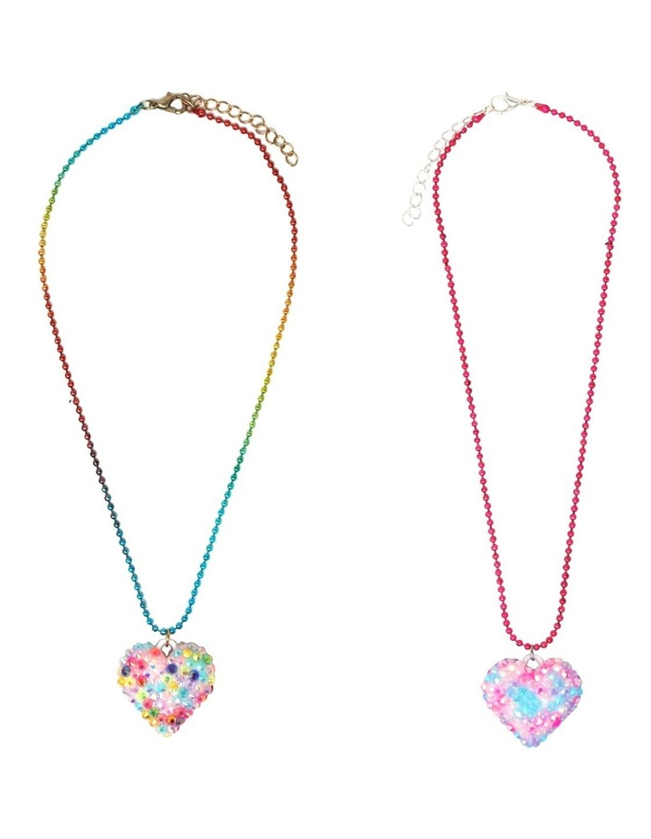 Rhinestone Heart Ball Chain Necklace - Available in 2 colourways . image 1