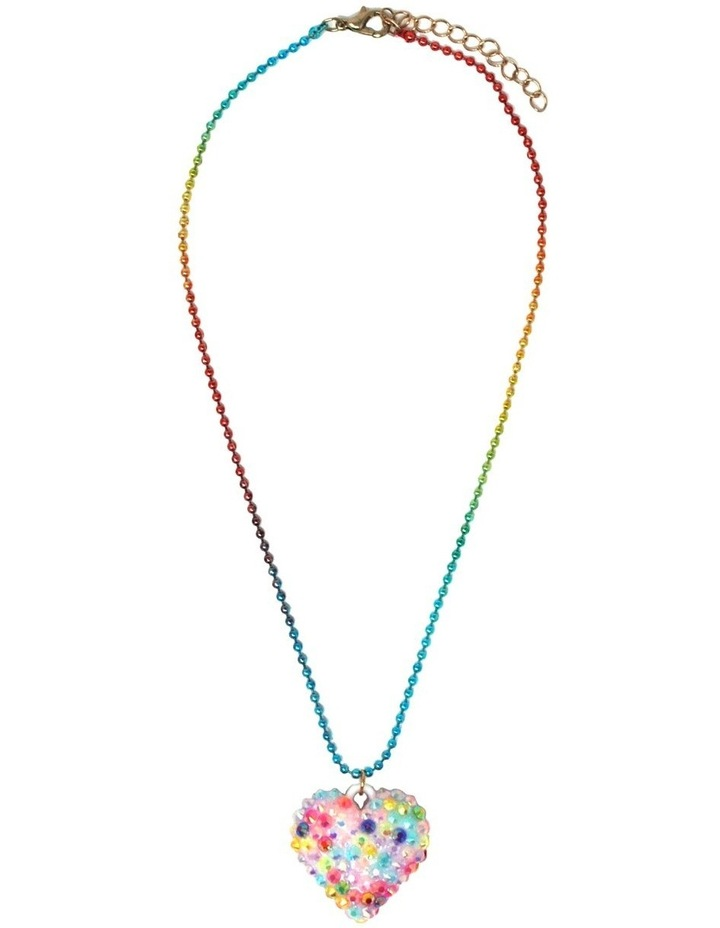 Rhinestone Heart Ball Chain Necklace - Available in 2 colourways . image 2