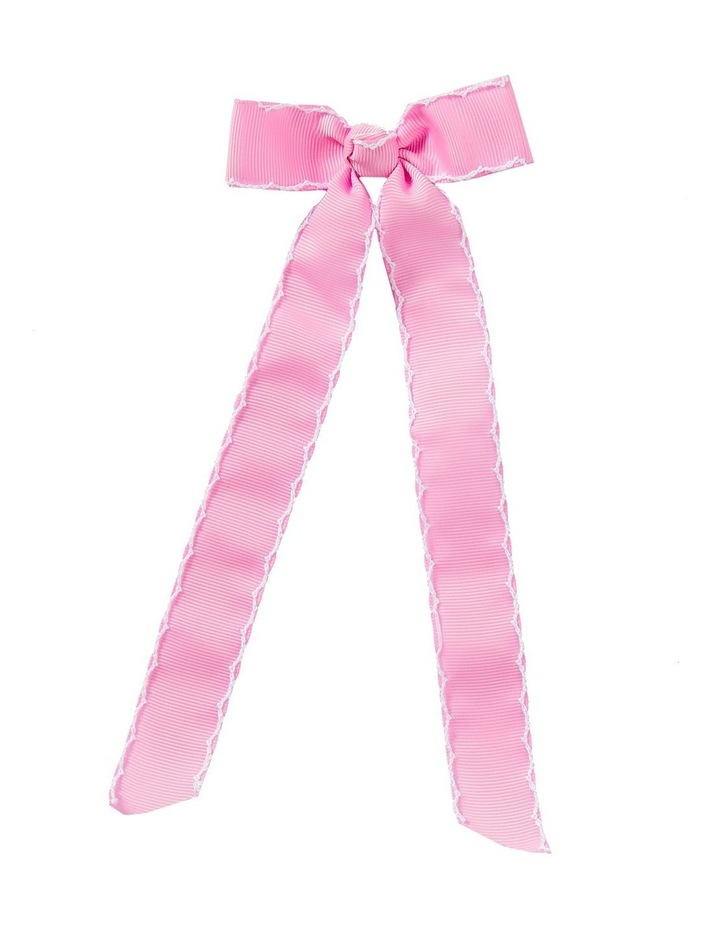 Streamer Stitched Grosgrain Bow Pink image 1