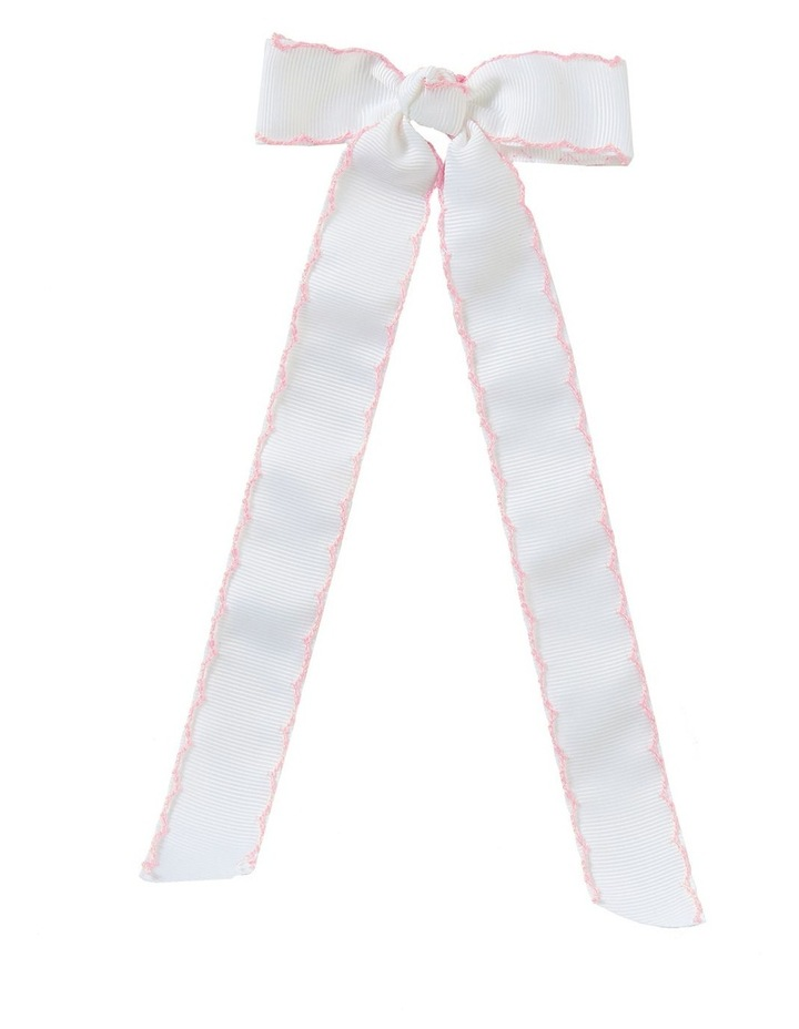 Streamer Stitched Grosgrain Bow White image 1
