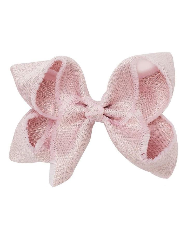 Medium Shimmer Chevron Bow - Pink image 1