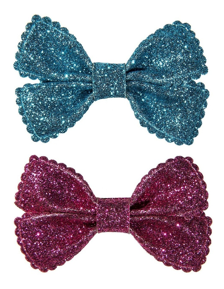 Glitter Bow Clips - Scales image 1