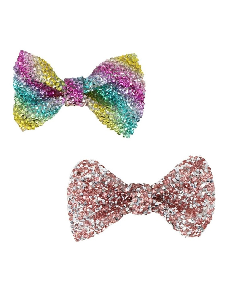 Encrusted Gemstone Hair Bow-Party. Available in 2 Colourways. Each sold Seperately image 1