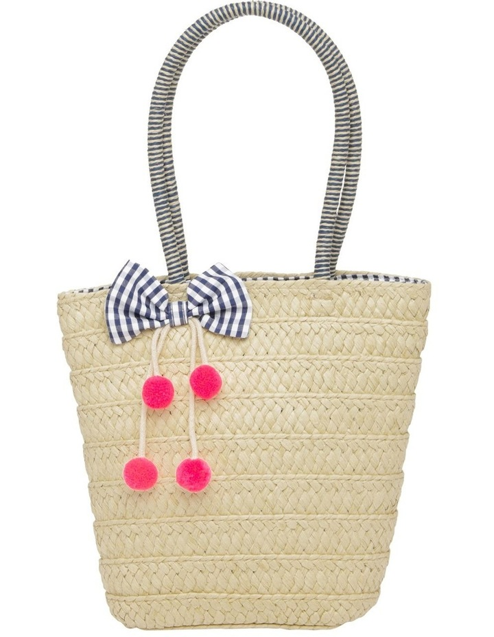 Straw Tote Bag with Gingham Bow image 1