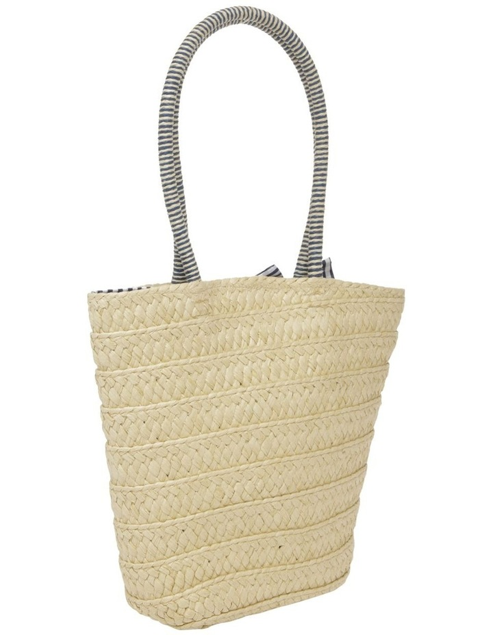 Straw Tote Bag with Gingham Bow image 2