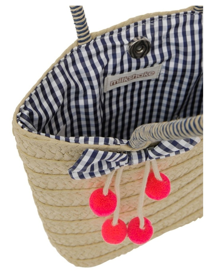 Straw Tote Bag with Gingham Bow image 3
