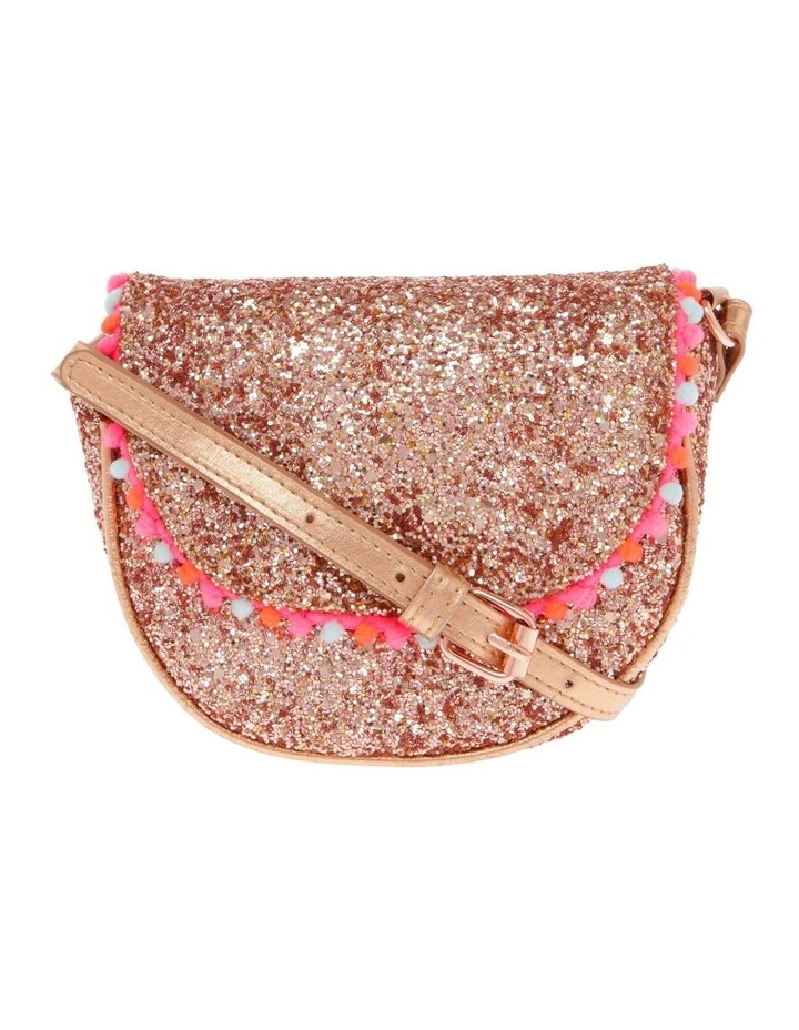 Glitter Rounded Bag with Pompom Trim image 1
