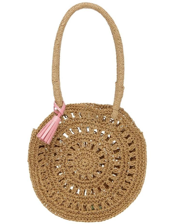 Circular Straw Bag with Pom Pom image 1