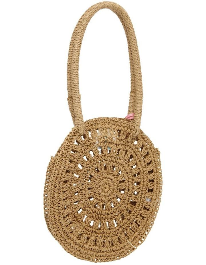 Circular Straw Bag with Pom Pom image 2