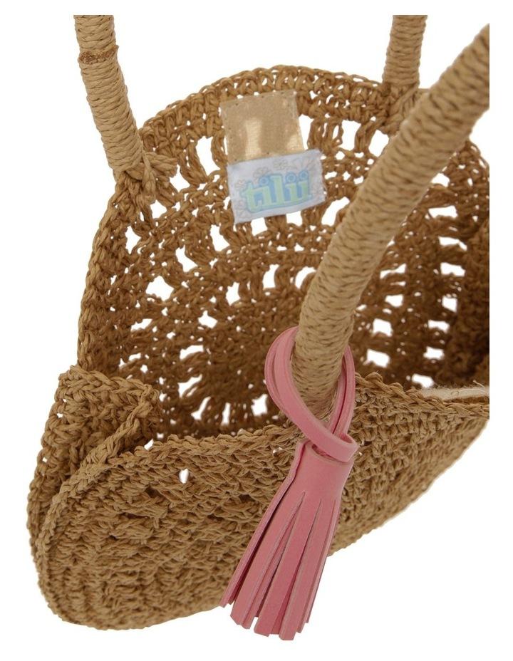 Circular Straw Bag with Pom Pom image 3