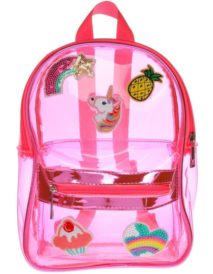 Pink Plastic Backpack with Assorted Badges image 1