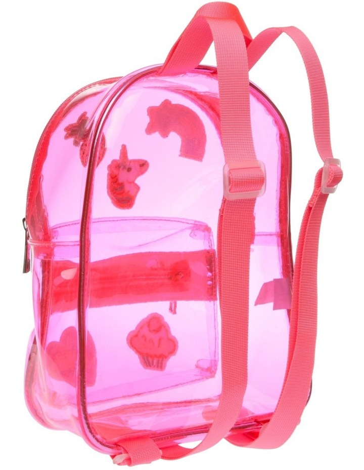 Pink Plastic Backpack with Assorted Badges image 2