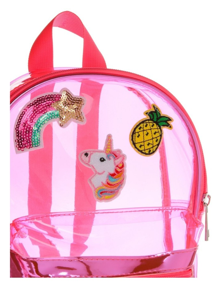 Pink Plastic Backpack with Assorted Badges image 3