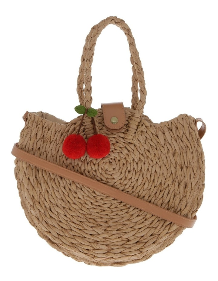 Straw Circle Tote with Crocheted Cherries image 1