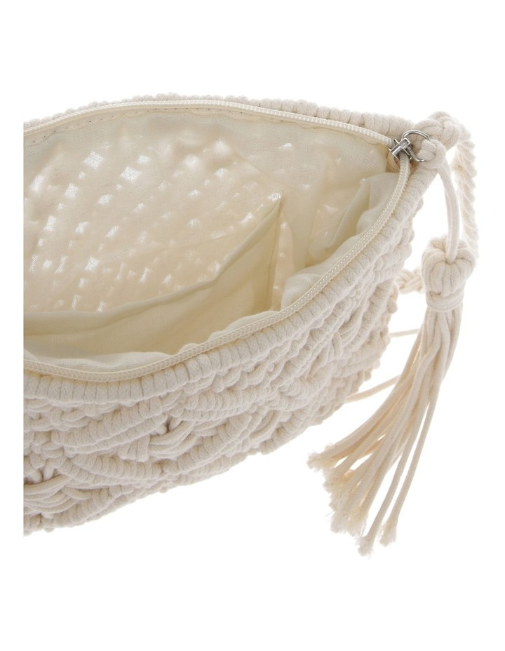 Macrame Shoulder Bag in White image 3