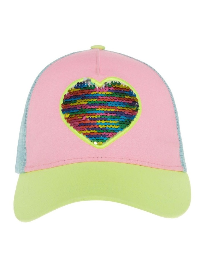 Colour Block Flip Sequin Heart Cap image 1