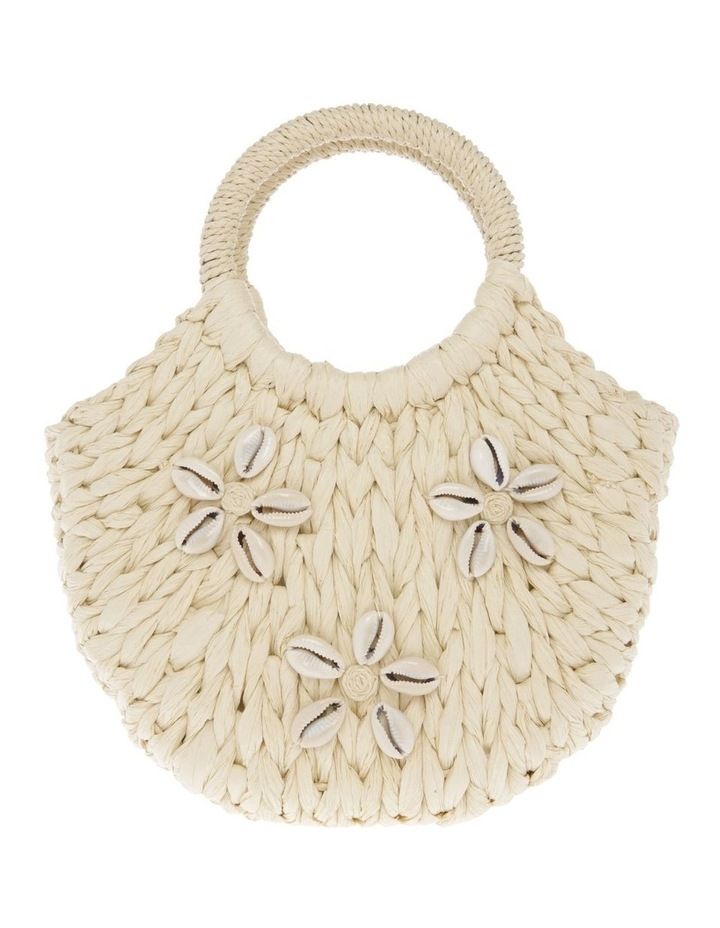 Straw Tote with Cowrie Shells image 1