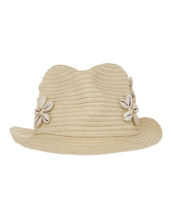 Straw Trilby with Cowrie Shells image 1