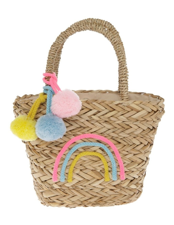 Straw Tote with Raibow Embellishment image 1