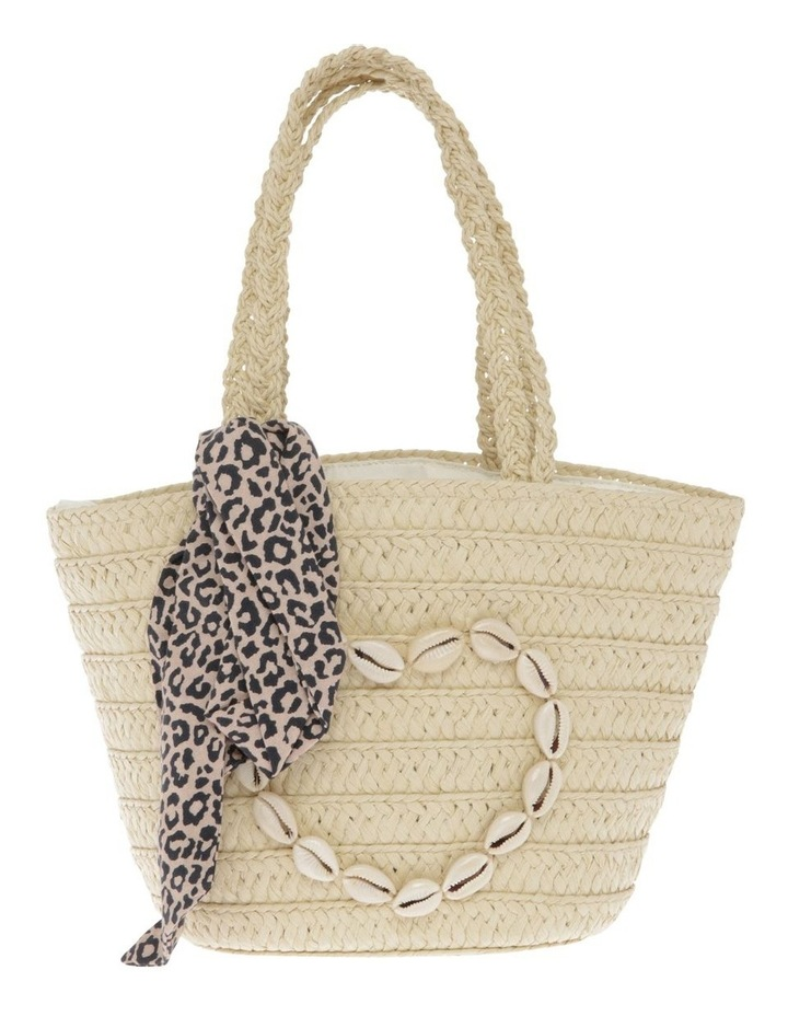 Straw Basket with Cowrie Shell Heart image 1
