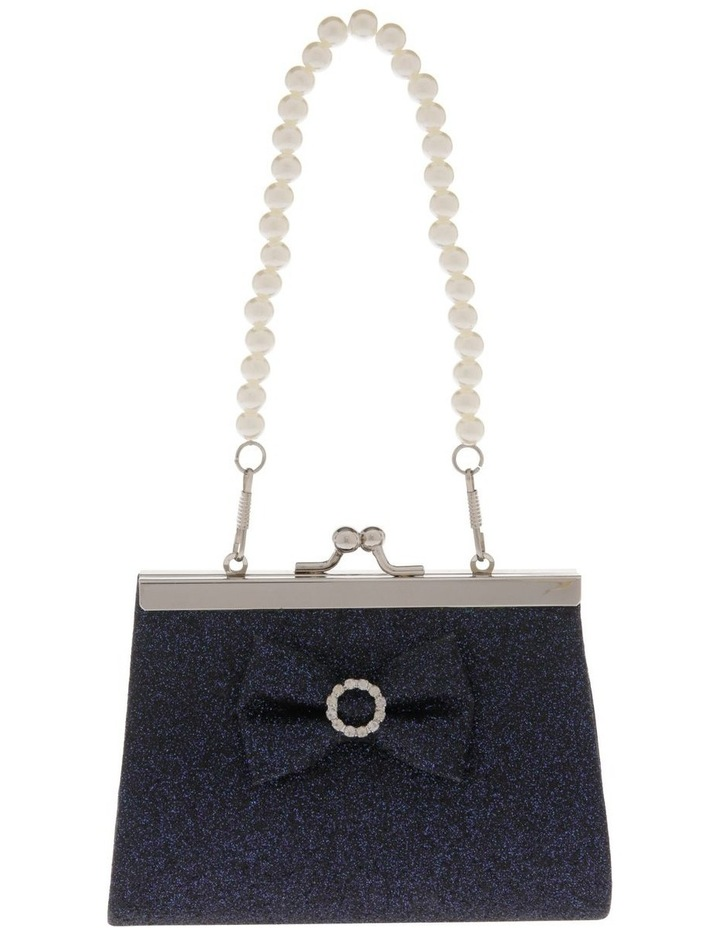 Navy Glitter Purse with Pearl Carry Strap image 1
