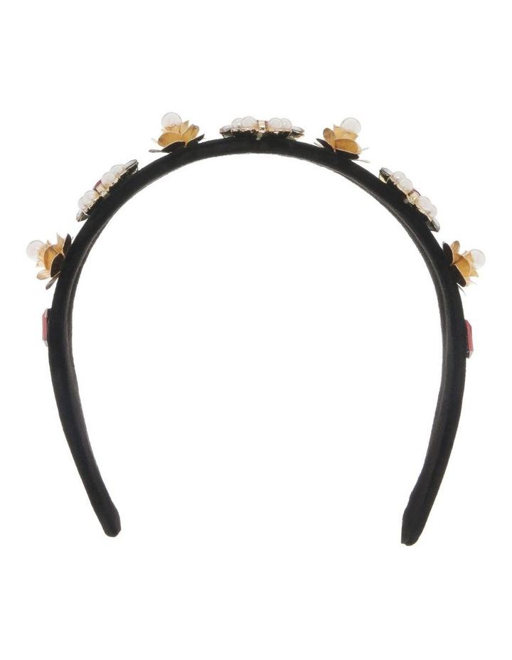 Black Velvet Headband with Diamonte Flowers image 1