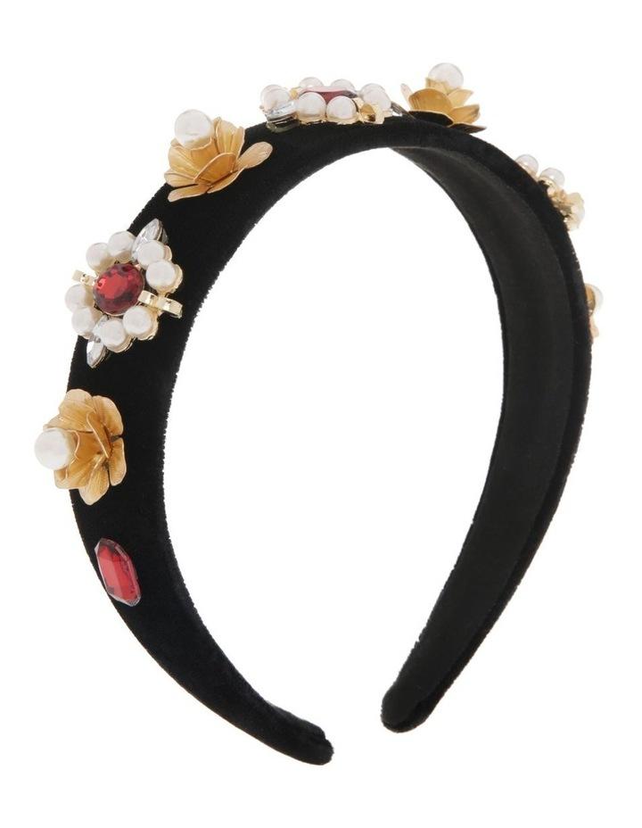Black Velvet Headband with Diamonte Flowers image 2