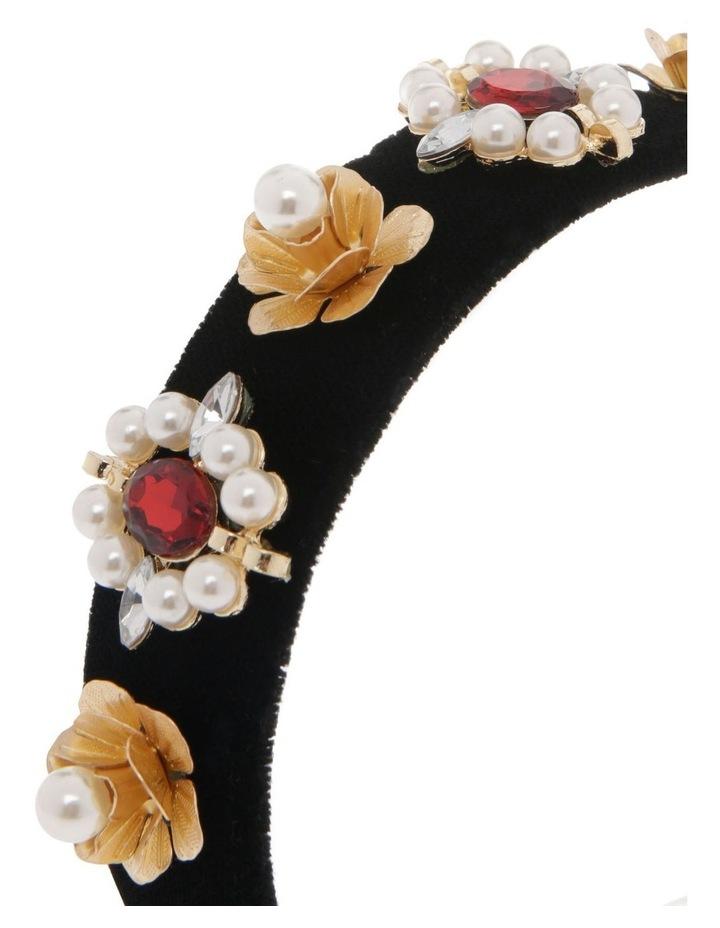 Black Velvet Headband with Diamonte Flowers image 3