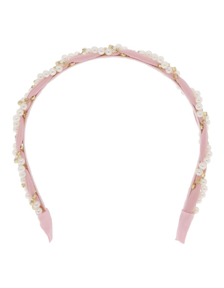 Powder Pink Chiffon Headband with Pearl Wrap image 1