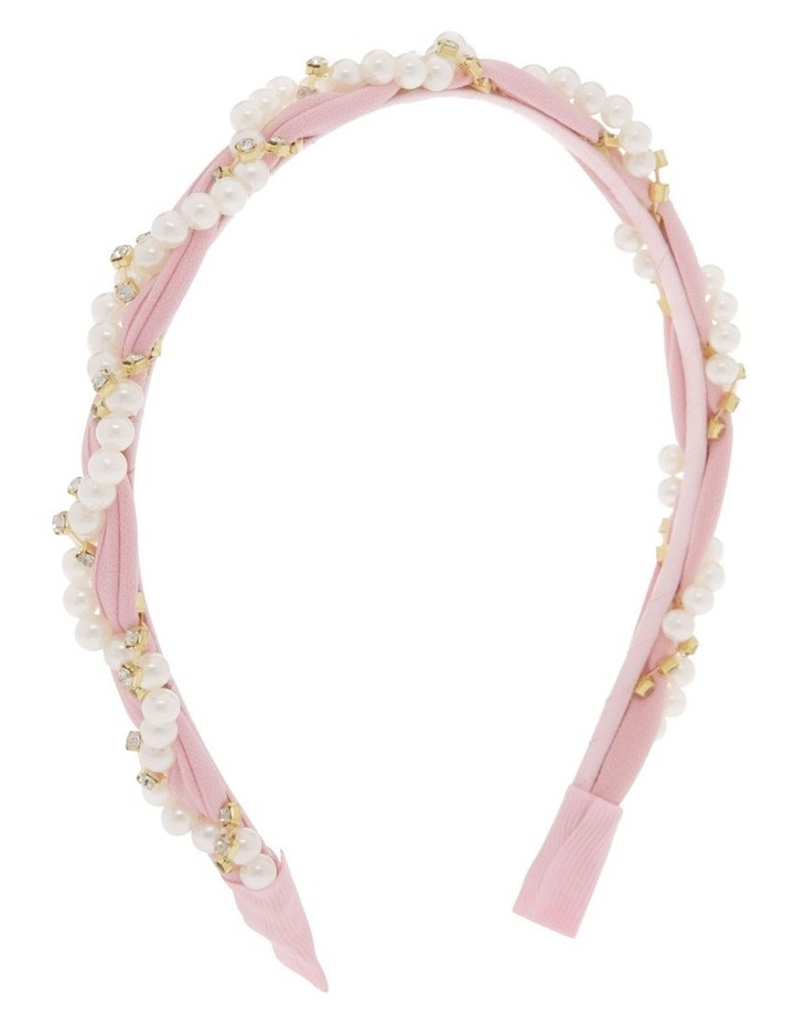 Powder Pink Chiffon Headband with Pearl Wrap image 2