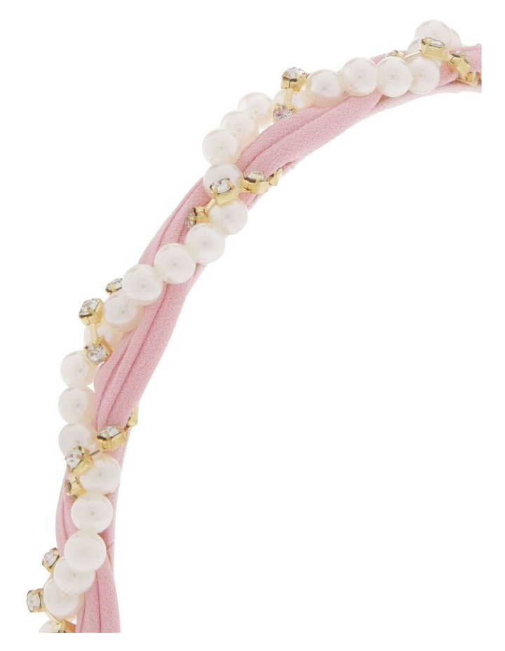 Powder Pink Chiffon Headband with Pearl Wrap image 3