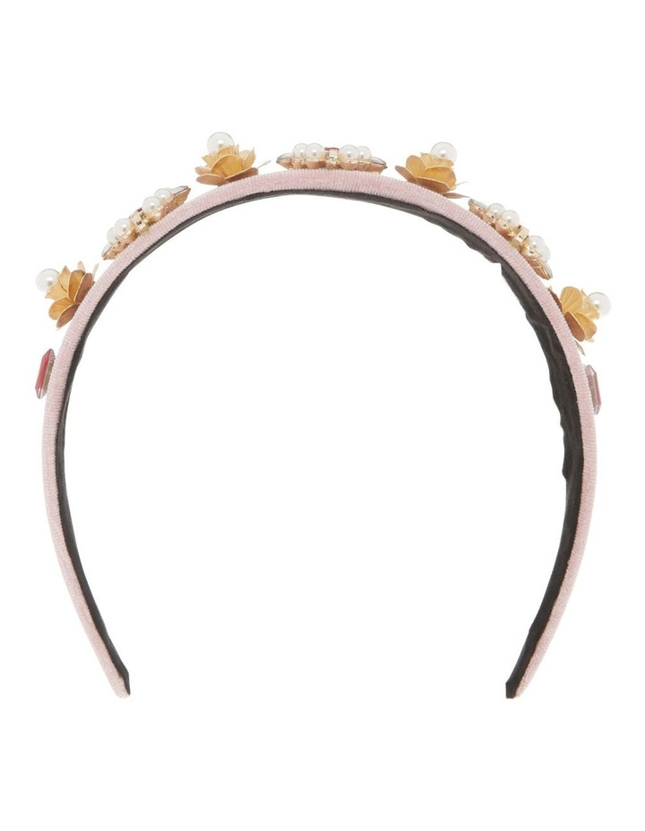 Pink Velvet Headband with Diamonte Flowers image 1