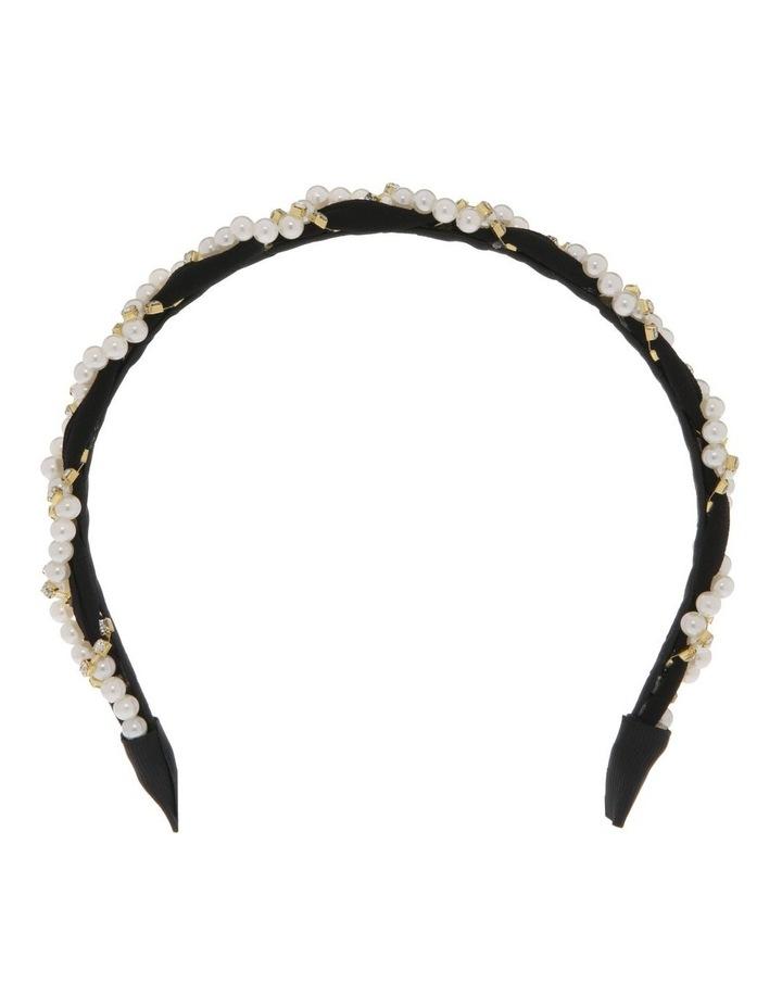 Black Chiffon Headband with Pearl Wrap image 1