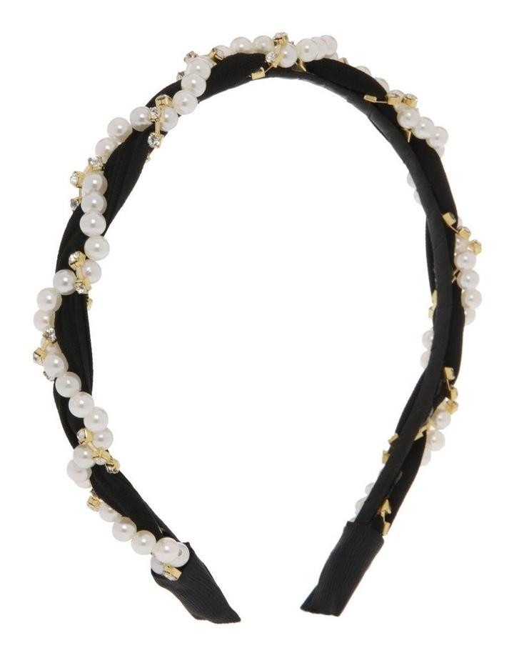 Black Chiffon Headband with Pearl Wrap image 2