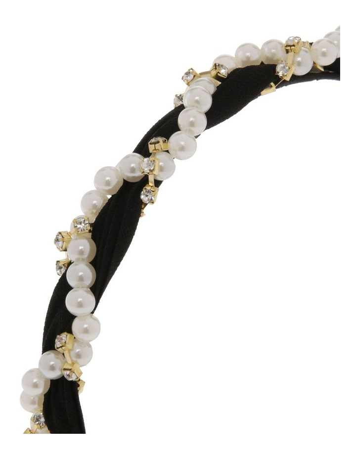 Black Chiffon Headband with Pearl Wrap image 3