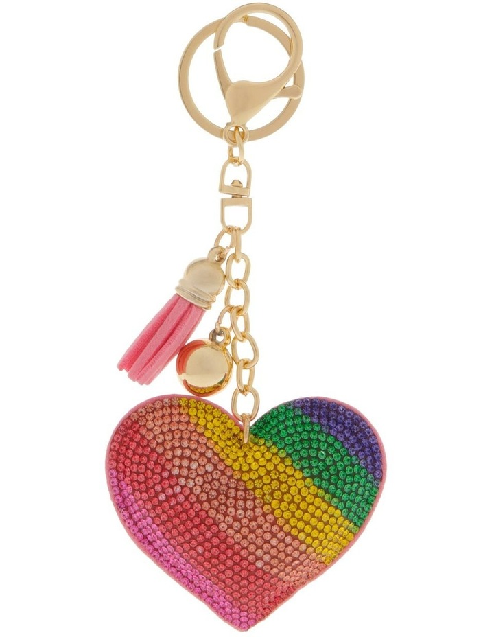 Rainbow Heart Diamonte Keyring image 1