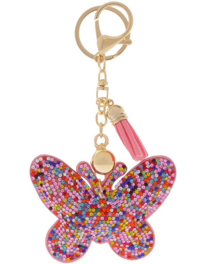 Multicolour Butterfly Diamonte Keyring image 1