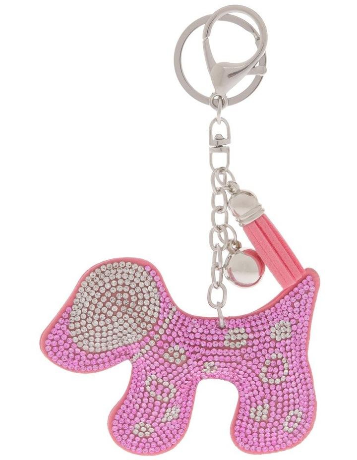Pink Dog Diamonte Keyring image 1