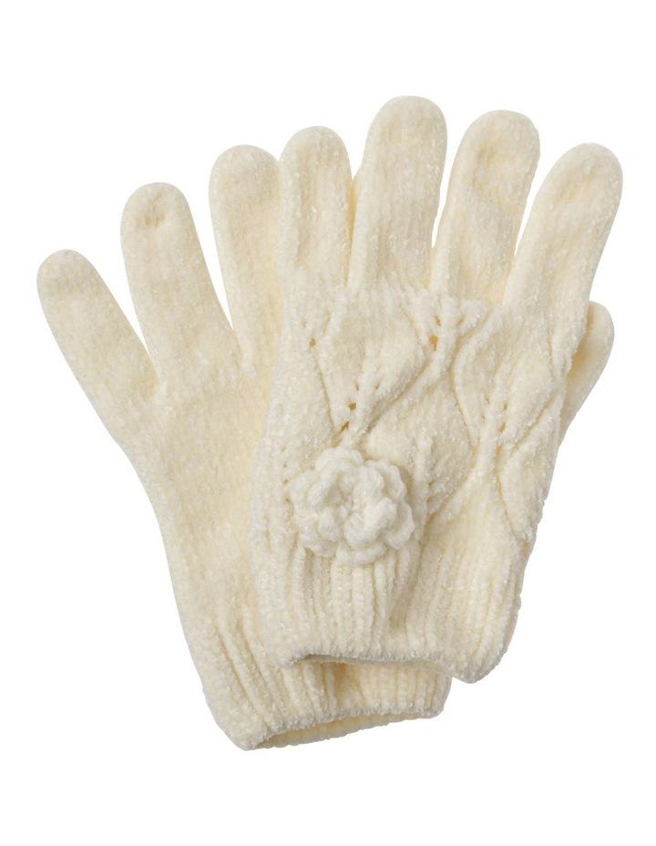 Girls Chenille Cream Glove image 1