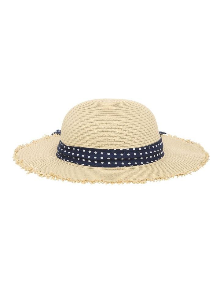 Natural Straw Hat with Polkadot Band image 1
