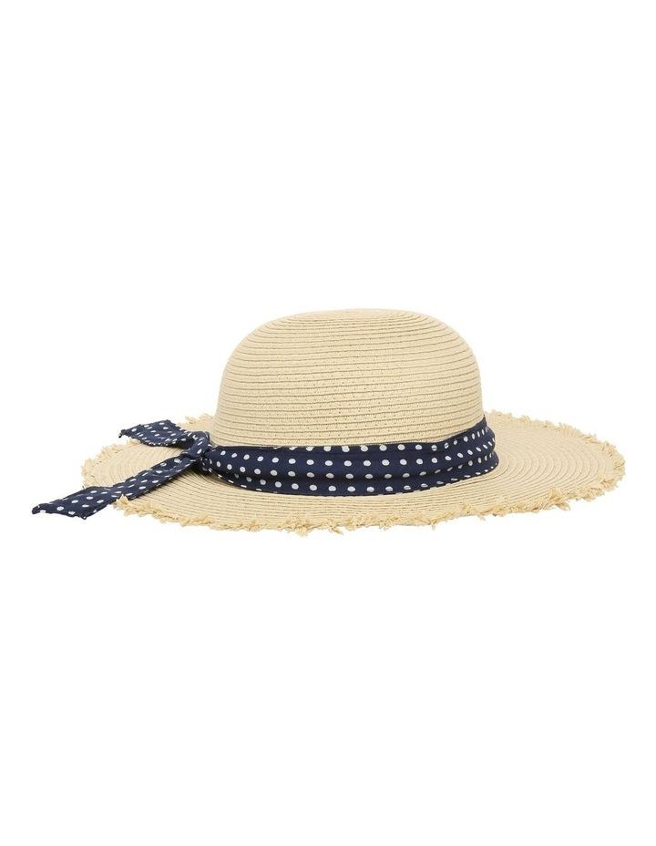 Natural Straw Hat with Polkadot Band image 3