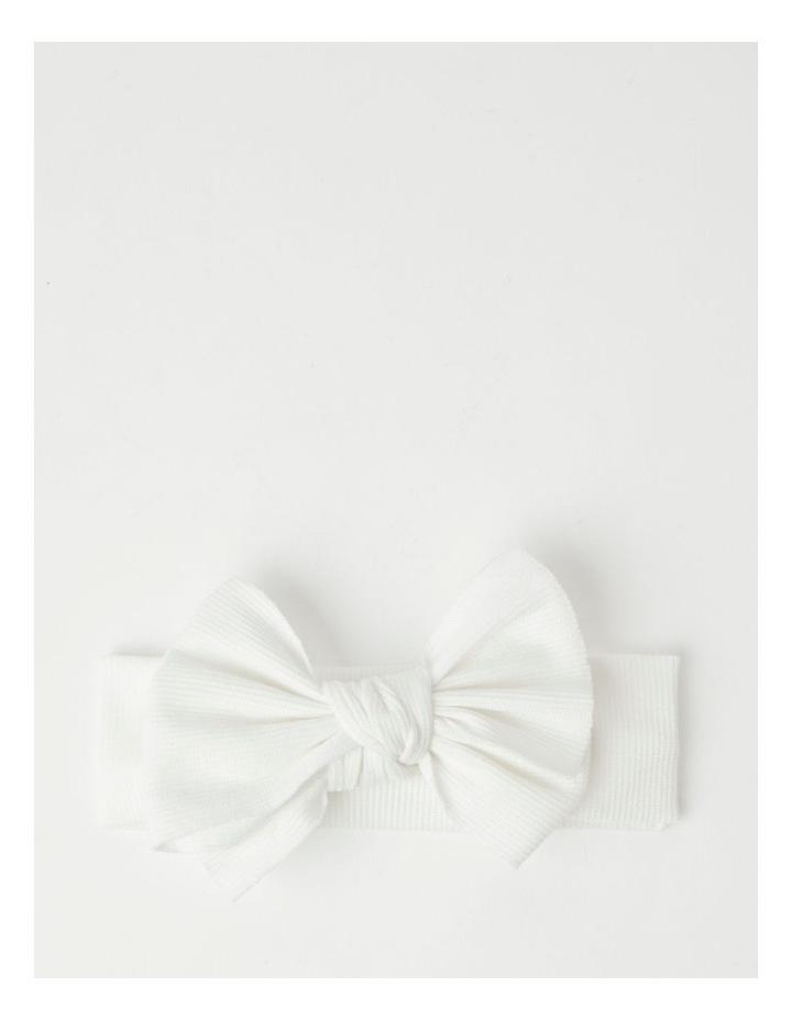 White Headband with Rib Bow image 1