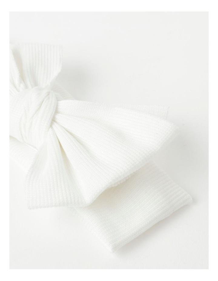 White Headband with Rib Bow image 2