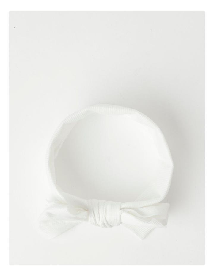White Headband with Rib Bow image 3