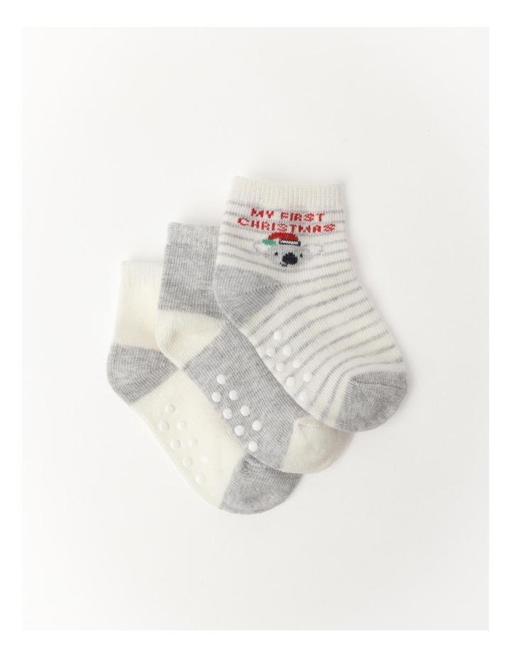 Christmas Jacquard Newborn Socks 3 Pack image 1