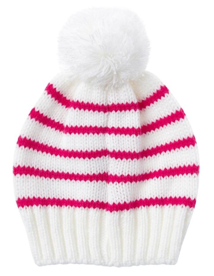 Girls Red Stripe Beanie image 1